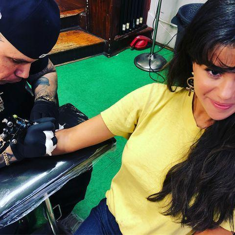 """<p>To celebrate her best friend turning 26, Gomez and three of her friends got matching tattoos of the number '4' in the summer of 2018. </p><p>Explaining the sentiment behind the tattoos on Instagram, Gomez wrote: '4 because you are my 4 for the rest of my life'. </p><p><a href=""""https://www.instagram.com/p/BmogmCSgl4Q/"""" rel=""""nofollow noopener"""" target=""""_blank"""" data-ylk=""""slk:See the original post on Instagram"""" class=""""link rapid-noclick-resp"""">See the original post on Instagram</a></p>"""