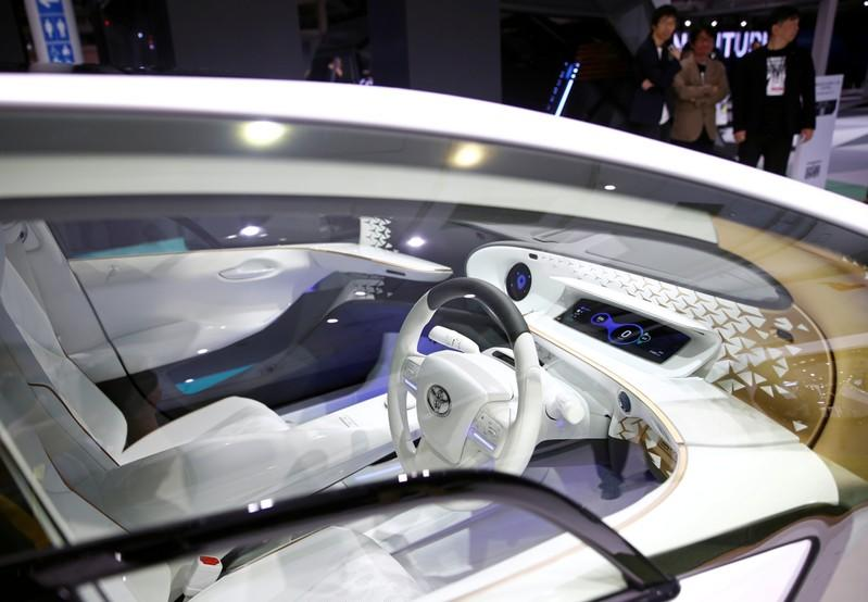 FILE PHOTO: The interior of Toyota's electric LQ Concept car is pictured at the Tokyo Motor Show, in Tokyo