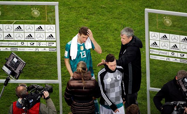 Soccer Football - International Friendly - Germany vs Spain - ESPRIT arena, Dusseldorf, Germany - March 23, 2018 Germany's Thomas Mueller is interviewed after the match REUTERS/Wolfgang Rattay