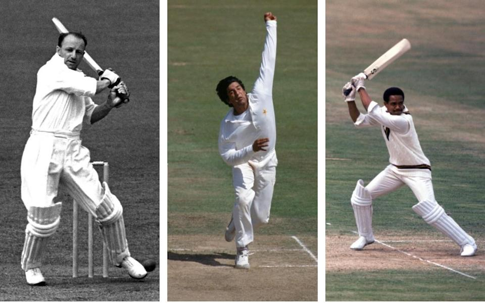 A composite image of Don Bradman batting, Wasim Akram bowling and Garfield Sobers batting - Getty Images/PA/Popperfoto
