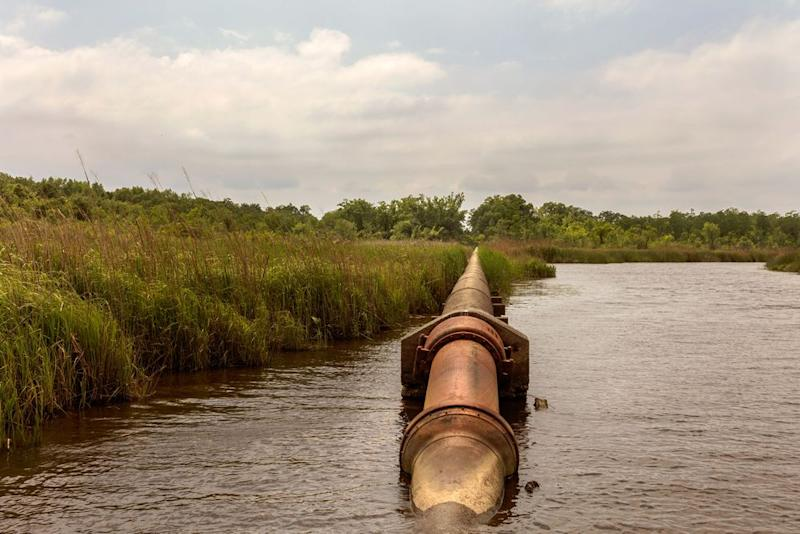 The pipeline that carries water from the Cape Fear River to the water treatment plant for Wilmington, N.C.