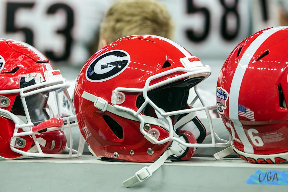 NEW ORLEANS, LA - JANUARY 01: Georgia Bulldogs helmets rest on the sideline during the Sugar Bowl game between the Georgia Bulldogs and the Baylor Bears on January 01, 2020, at the Mercedez-Benz Superdome in New Orleans, Louisiana. (Photo by John Korduner/Icon Sportswire via Getty Images)