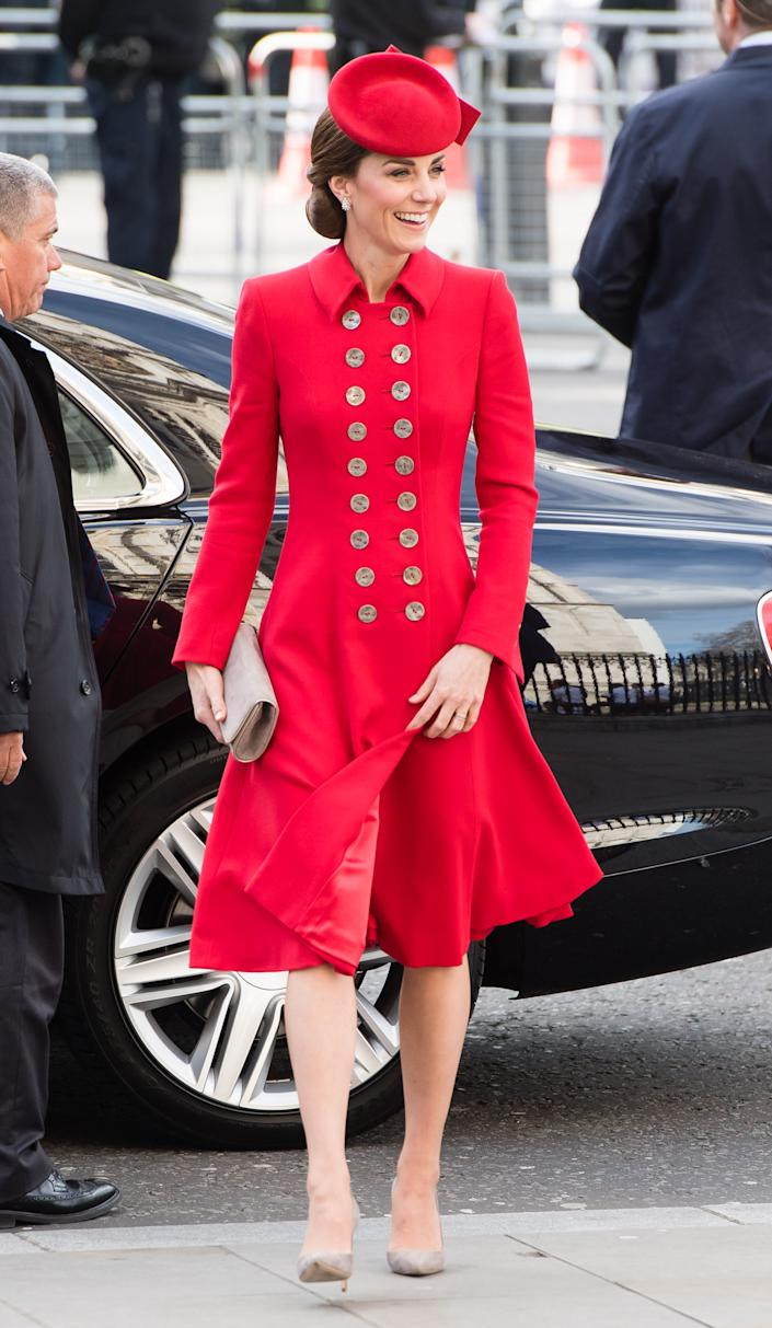The Duchess of Cambridge wore a Catherine Walker coat dress on March 11, 2019 [Photo: Getty]