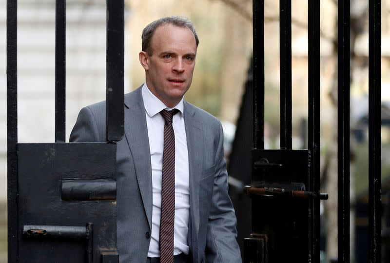 Britain's Secretary of State for Foreign affairs Dominic Raab is seen outside Downing Street in London