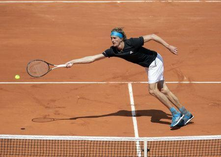 May 28, 2019; Paris, Alexander Zverev (GER) in action during his match against John Millman (AUS) on day three of the 2019 French Open at Stade Roland Garros. Mandatory Credit: Susan Mullane-USA TODAY Sports