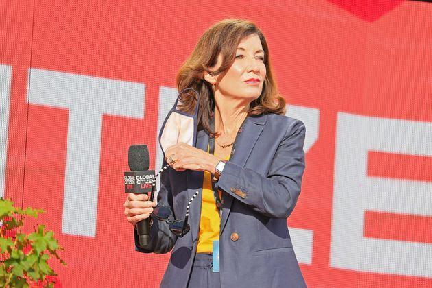 NEW YORK, NEW YORK - SEPTEMBER 25:  Kathy Hochul speaks onstage during Global Citizen Live, New York on September 25, 2021 in New York City. (Photo by Theo Wargo/Getty Images for Global Citizen) (Photo: Theo Wargo via Getty Images for Global Citizen)