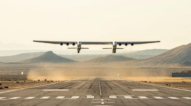 Stratolaunch, world largest plane, Stratolaunch first flight, Worlds largest plane first flight, Stratolaunch plane, Stratolaunch aircraft, stratolaunch flying launch pad, world largest plane test flight, stratolaunch plane test flight, Mojave Air and Space Port, Mojave Desert