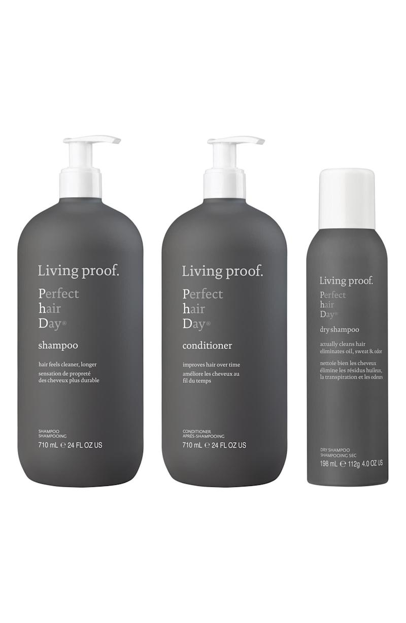 "Say goodbye to greasy hair with this shampoo and conditioner set along with Living Proof's cult-favorite dry shampoo. <strong><a href=""https://fave.co/30HQ2XK"" target=""_blank"" rel=""noopener noreferrer"">Normally $142, get it on sale for $89 during the Nordstrom Anniversary Sale</a>.</strong>"
