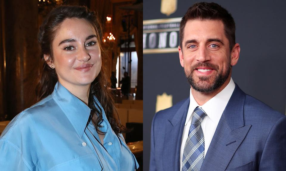 Shailene Woodley and Aaron Rodgers.  (Getty Images)