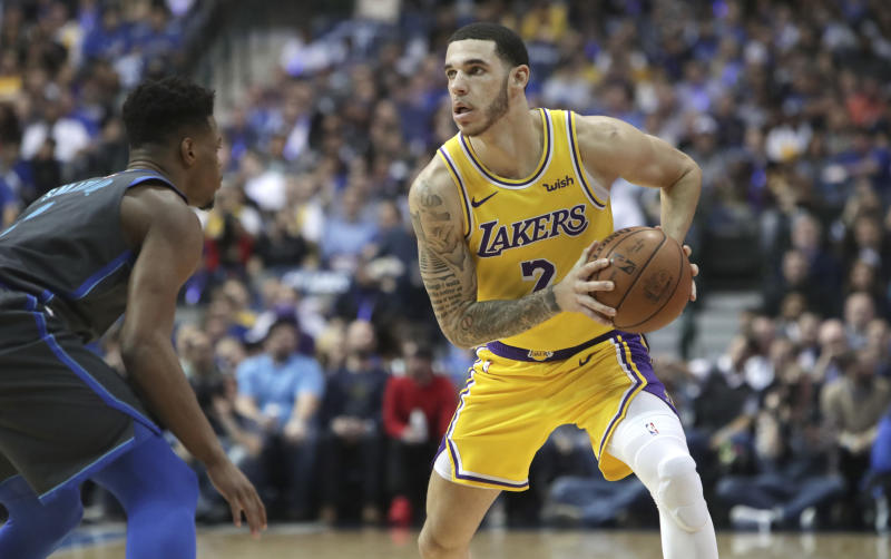 Los Angeles Lakers guard Lonzo Ball (2) looks to pass during the first quarter of an NBA basketball game against the Dallas Mavericks in Dallas, Monday, Jan. 7, 2019. (AP Photo/LM Otero)
