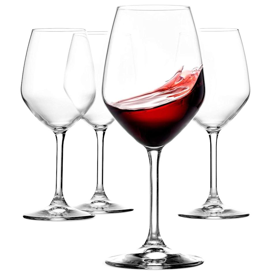 <p>You'll feel so fancy with these <span>Paksh Novelty Italian Red Wine Glasses</span> ($25 for 4).</p>