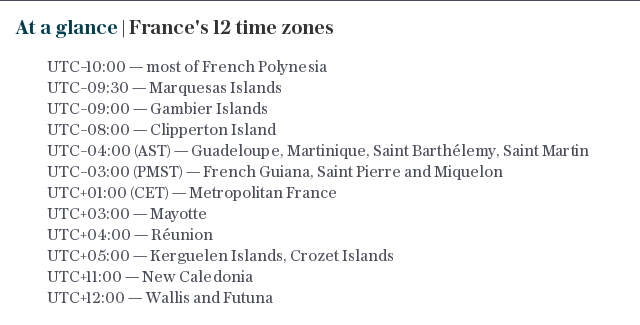 At a glance | France's 12 time zones