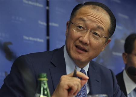 World Bank President Jim Yong Kim gestures during a press conference held in Beijing