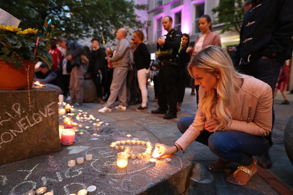 Tributes to the victims in St Ann's Square, Manchester, a week after the Manchester Arena terror attack. (PA)