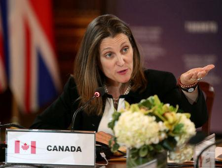 Canada's Minister of Foreign Affairs Freeland makes opening remarks at G7 FM meetings in Toronto