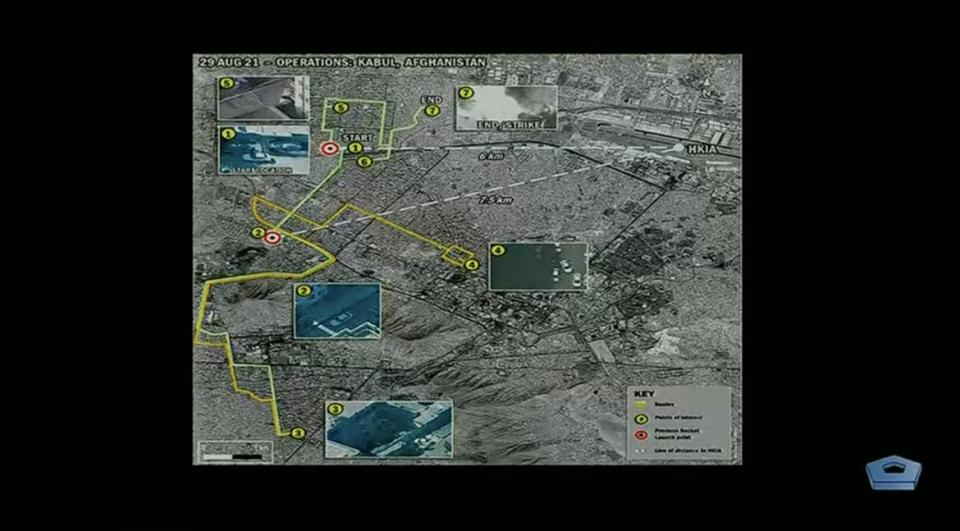 """<div class=""""inline-image__caption""""><p>A map shared by McKenzie highlighting the path taken by the vehicle being tracked by U.S. forces.</p></div> <div class=""""inline-image__credit"""">DoD</div>"""