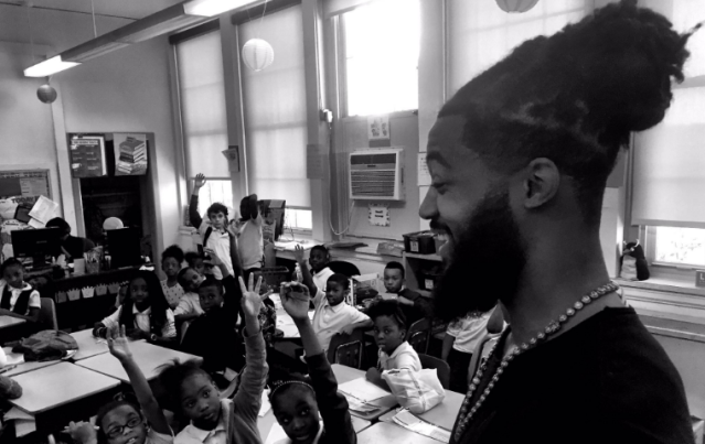 Former Bills and Jets linebacker Aaron Maybin, now a Baltimore school teacher, is bringing attention to a crisis in the city's classrooms. (Maybin Twitter)