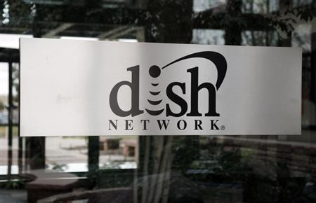 The sign in the lobby of the corporate headquarters of Dish Network is seen in the Denver suburb of Englewood