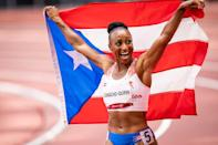 <p>Jasmine Camacho Quinn of Puerto Rico wins the Women's 100m Hurdles Final at the Olympic Stadium on August 2.</p>