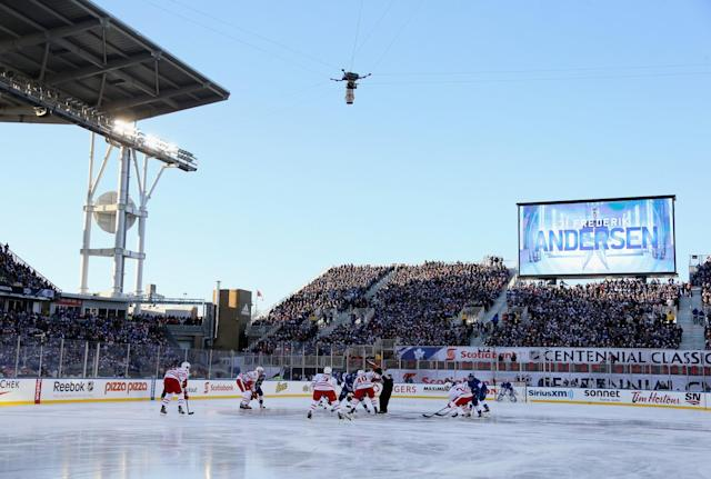<p>An overhead camera above the ice (Getty) </p>