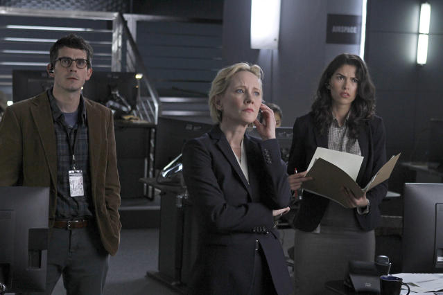 Tate Ellington as Noah Morgenthau, Anne Heche as Patricia Campbell, and Sofia Pernas as Hannah Rivera in 'The Brave' (Photo: Simon Mein/NBC)