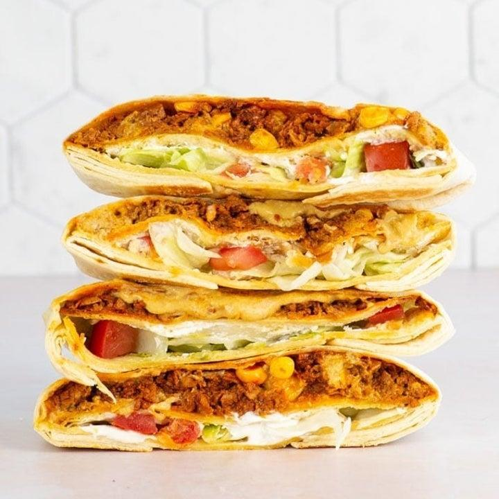 A stack of wrap sandwiches