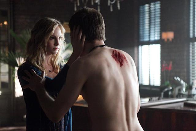 """American Gothic"" -- Candice Accola as Caroline and Joseph Morgan as Klaus"