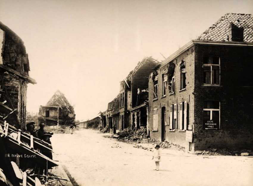 The village of Neuve Eglise in Northern France, photographed soon after the end of World War One, circa March 1919. This image is from a series documenting the damage and devastation that was caused to towns and villages along the Western Front in France and Belgium during the First World War. (Photo by Popperfoto/Getty Images)