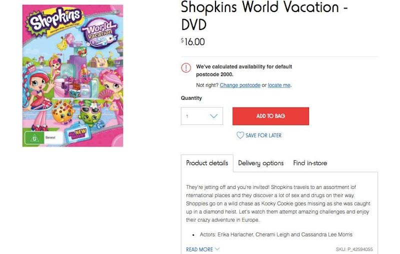 It seems retailer Kmart has landed itself in a bit of hot water thanks to a X-rated product description on a children's movie. Source: Kmart