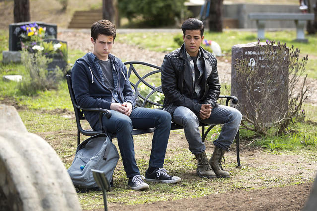 Dylan Minnette as Clay and Christian Navarro as Tony in Netflix's '13 Reasons Why' (Photo: Netflix)