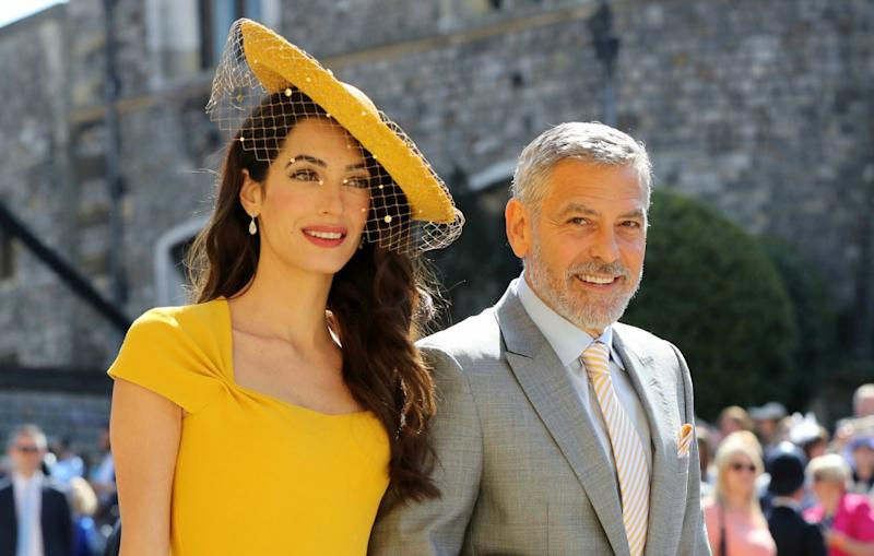 Amal Clooney Pairs Canary Yellow Dress And Hat With Metallic