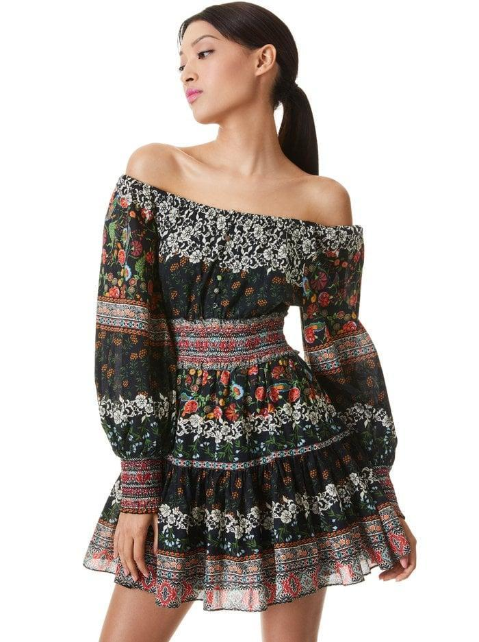 <p>We have major heart eyes for this pretty <span>Alice and Olivia Clementina Tiered Mini Dress</span> ($395) - the prints are incredible. We'd style it with black boots.</p>