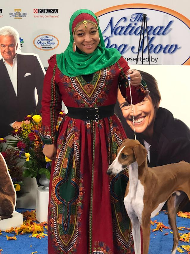 Aliya Taylor with her Azawakh at the National Dog Show. (Photo: Aliya Taylor)