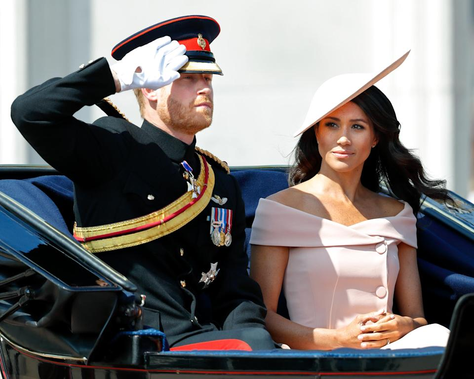 Prince Harry and Meghan Markle in a horse-drawn carriage during Trooping the Colour in London on June 9, 2018. (Photo: Max Mumby/Indigo/Getty Images)