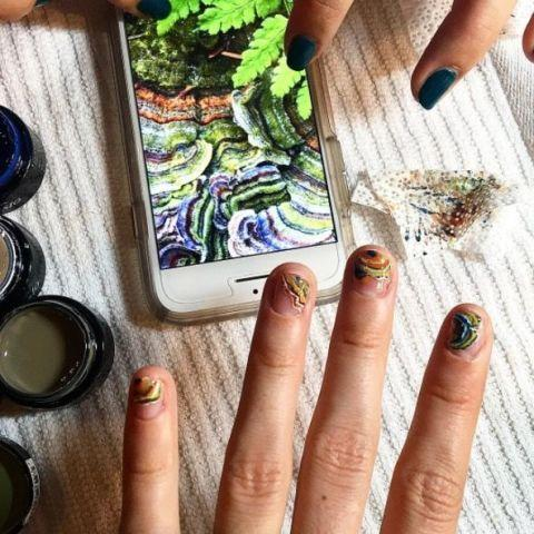 <p>Brie Larson posted this pic of her 'Turkey tail mushroom nails' created by nail artist extraordinaire Michelle Won.</p>