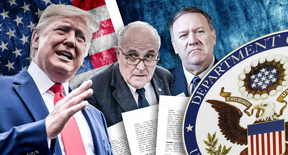 From left, Donald Trump, Rudy Giuliani and Mike Pompeo