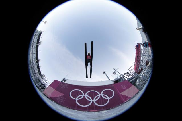 Nordic Combined Events - Pyeongchang 2018 Winter Olympics - Team LH Training - Alpensia Ski Jumping Centre - Pyeongchang, South Korea - February 21, 2018 - Magnus Krog of Norway trains. Picture taken with a fisheye lens. REUTERS/Jorge Silva