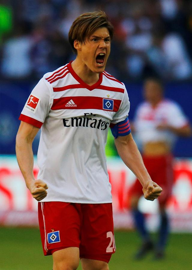 Soccer Football - Bundesliga - Hamburger SV vs SC Freiburg - Volksparkstadion, Hamburg, Germany - April 21, 2018 Hamburg's Gotoku Sakai celebrates after the match REUTERS/Morris Mac Matzen DFL RULES TO LIMIT THE ONLINE USAGE DURING MATCH TIME TO 15 PICTURES PER GAME. IMAGE SEQUENCES TO SIMULATE VIDEO IS NOT ALLOWED AT ANY TIME. FOR FURTHER QUERIES PLEASE CONTACT DFL DIRECTLY AT + 49 69 650050