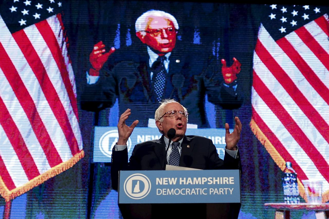 Democratic U.S. presidential candidate Bernie Sanders speaks at the 2016 McIntyre-Shaheen 100 Club Celebration in  Manchester, New Hampshire
