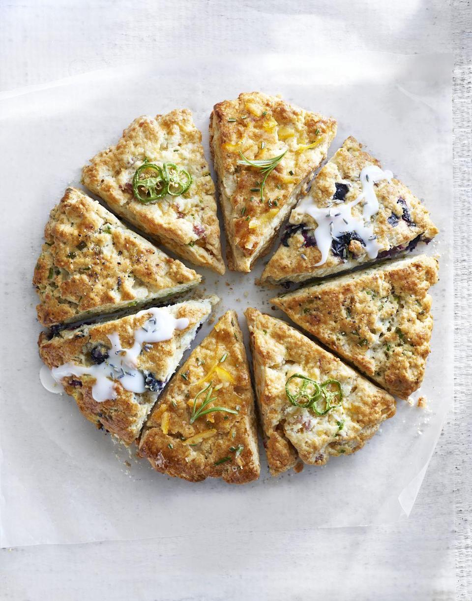 "<p>Fancy some tea and scones? We've got four delicious variations for you (including blueberry and lavender!). </p><p><em><a href=""https://www.goodhousekeeping.com/food-recipes/a16630/perfectly-buttery-cream-scones-recipe-clx0315/"" rel=""nofollow noopener"" target=""_blank"" data-ylk=""slk:Get the recipe for Perfectly Buttery Cream Scones »"" class=""link rapid-noclick-resp"">Get the recipe for Perfectly Buttery Cream Scones »</a></em></p>"
