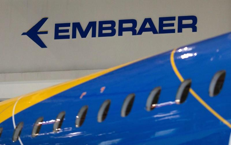 The logo of Brazilian planemaker Embraer SA is seen at the company's headquarters in Sao Jose dos Campos