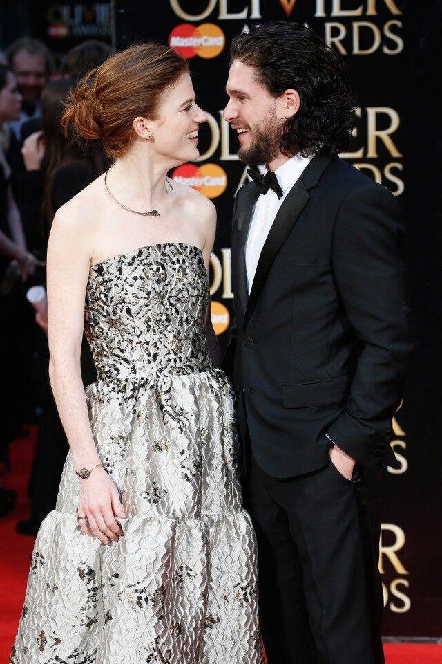 Rose Leslie and Kit Harington attend The Olivier Awards with Mastercard at The Royal Opera House on April 3, 2016 in London, England.