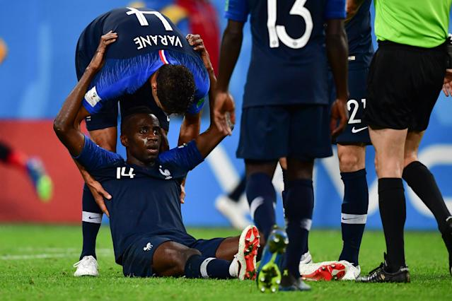 Blaise Matuidi left France's World Cup semifinal win over Belgium late in the second half. (Getty)
