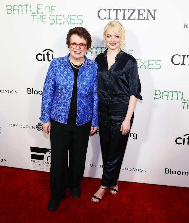 """<p>Can't you just hear Elton John's """"Philadelphia Freedom"""" playing in the background?<em> Battle of the Sexes</em> star Stone posed with Billie Jean King, the legend that she portrays in the new movie, at a New York screening. (Photo: Bennett Raglin/Getty Images) </p>"""