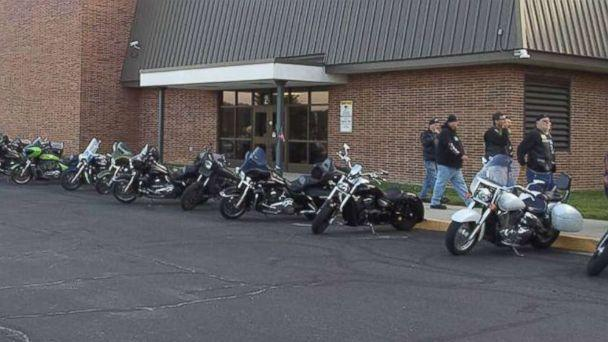 PHOTO: A total of 50 bikers showed from motorcycle clubs to community members and individual motorcycle enthusiasts, to escort Phil Mick to his first day of middle school on Aug. 1. (Courtesy Brent Warfield )