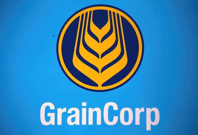 FILE PHOTO: The logo for GrainCorp, Australia's largest listed bulk grain handler, adorns a sign at the Burren Junction depot located in the New South Wales town of Burren Junction, located north-west of Sydney in Australia