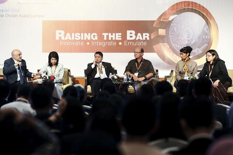 The panel at the International Malaysia Law Conference at the Royale Chulan Hotel, Aug 15, 2018. — Picture by Hari Anggara