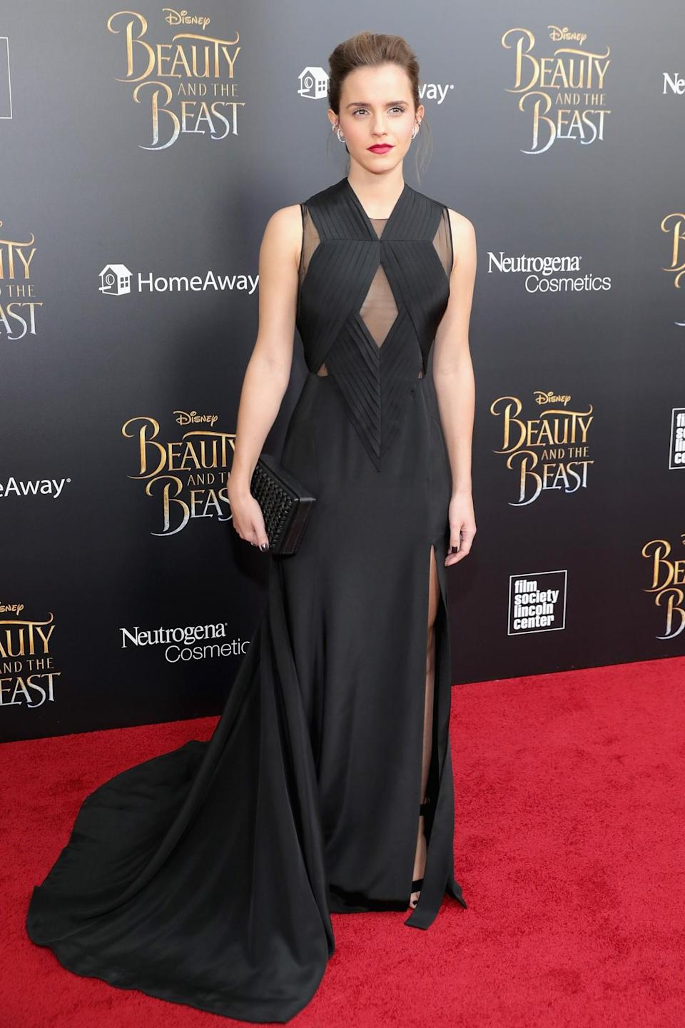 <p>At the New York premiere of 'Beauty and the Beast', Emma opted for a dramatic floor-sweeping Givenchy dress that featured a keyhole cut out and a backless design. <em>[Photo: Getty]</em> </p>