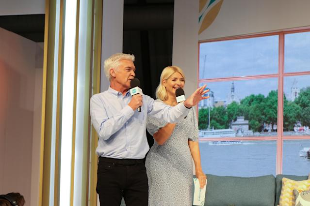 Phillip Schofield and Holly Willoughby filming 'This Morning Live', at Birmingham NEC. (Tim Roney/Getty Images)