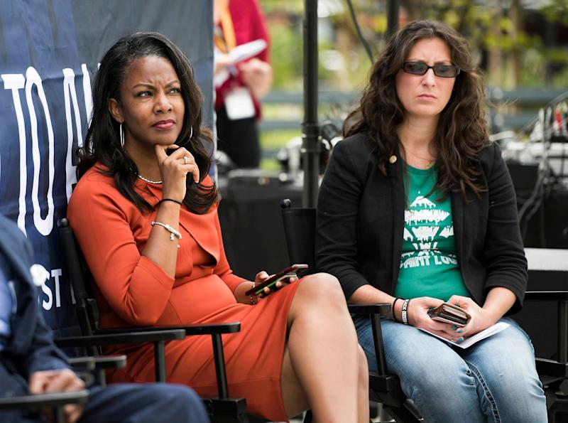 St Louis Treasurer Tishaura Jones and Alderwoman Megan Green at a kickoff event for HuffPost's bus tour last month.